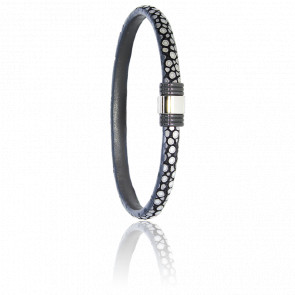 Bracelet 614 Galuchat Gris, Acier Noir & Or Blanc 18K