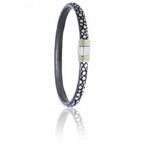 Bracelet 615 Galuchat Gris, Acier & Or Jaune 18K