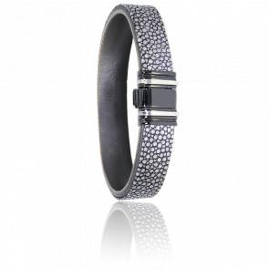 Bracelet 698 Galuchat Gris, Acier Noir & Or Blanc 18K