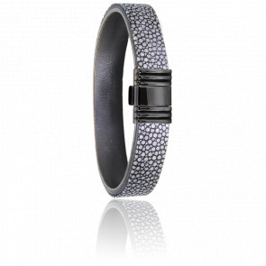 Bracelet 696 Galuchat Gris & Acier Noir