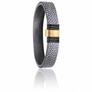 Bracelet 699 Galuchat Gris, Acier Noir & Or Jaune 18K
