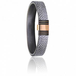 Bracelet 701 Galuchat Gris, Acier Noir & Or Rose 18K