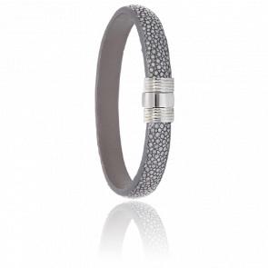 Bracelet 606 Galuchat Gris & Acier