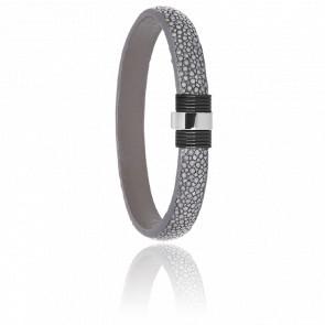 Bracelet 607 Galuchat Gris, Acier Noir & Or Blanc 18K