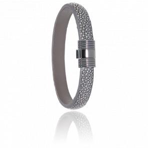 Bracelet 606 Galuchat Gris & Acier Noir