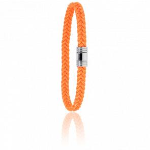Bracelet 608 Cordon Marin Orange & Acier