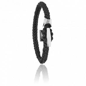 Bracelet Cordon Marin Noir & Taquet Acier
