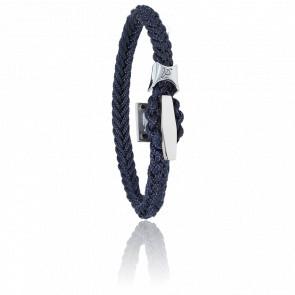 Bracelet Cordon Marin Bleu & Taquet Acier