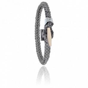 Bracelet Cordon Marin Gris, Taquet Acier & Or Rose