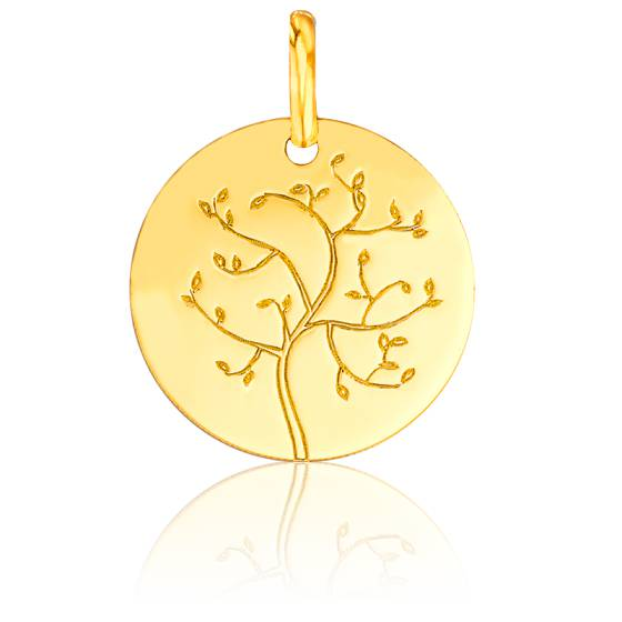 Médaille Arbre de Vie Bourgeons Or Jaune 18K
