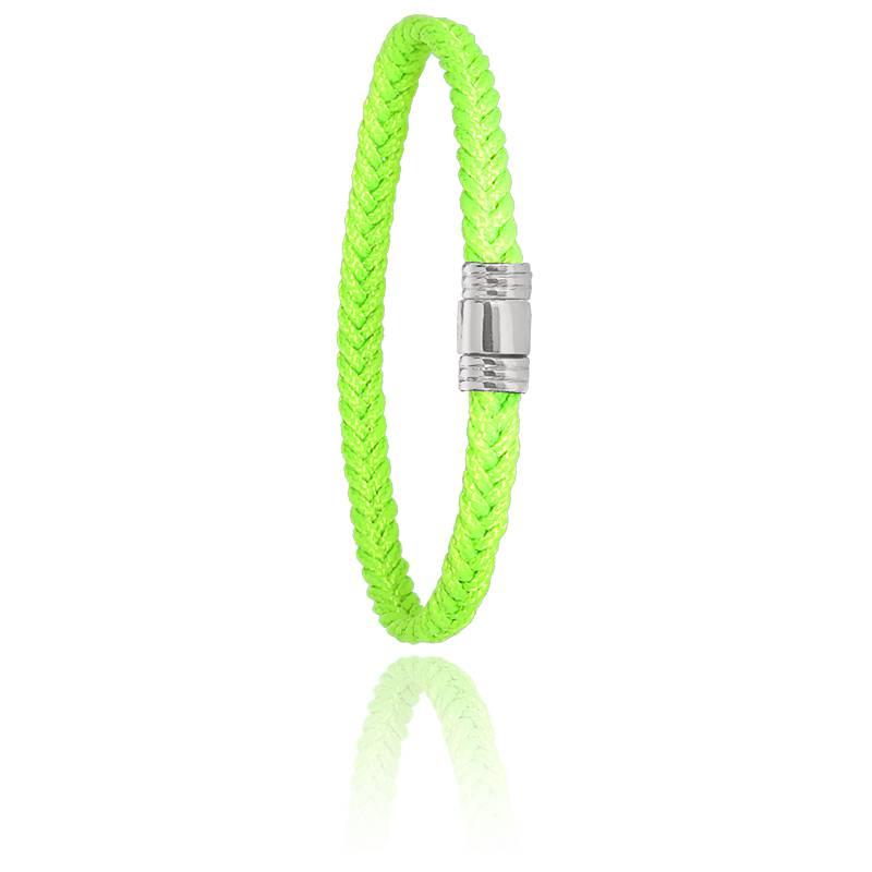 Bracelet 608 Cordon Marin Vert Fluo & Acier