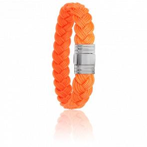 Bracelet 696 Cordon Marin Orange & Acier
