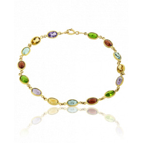 Bracelet Pierres Multicolores & Or Jaune 18K