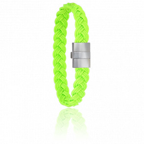 Bracelet 604 Cordon Marin Vert Fluo & Acier