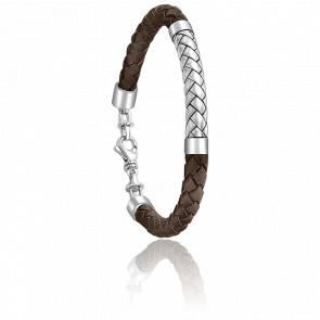 Bracelet Josh Argent & Cuir Marron