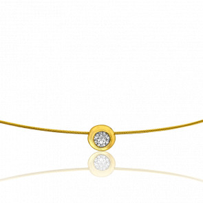 Collier Sonia 50 cm Or Jaune 18K et Solitaire 0,10 ct