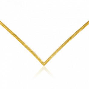 Chaîne Omega en V, Or Jaune 18K, longueur 55 cm