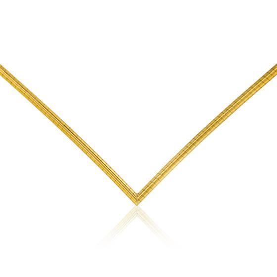 Chaîne Omega en V, Or Jaune 18K, longueur 42 cm
