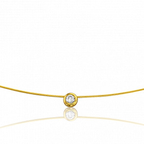 Collier Sonia 42 cm Or Jaune 18K et Solitaire 0,06 ct