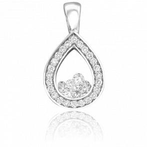 Pendentif Goutte Diamants & Or Blanc 18K