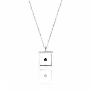 Collier Micro Carré Argent et diamant noir 0.12 carat