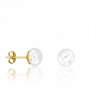 Puces d'oreilles perle d'eau douce et or jaune 18 carats