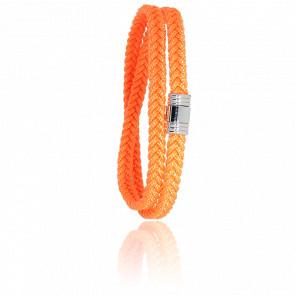 Bracelet 608 Double Cordon Marin Orange & Acier