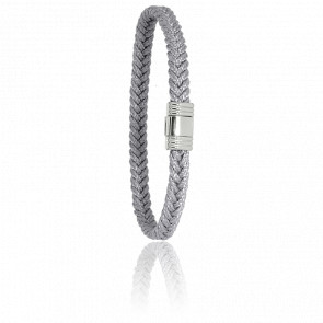 Bracelet 608 Cordon Marin Gris Clair & Acier
