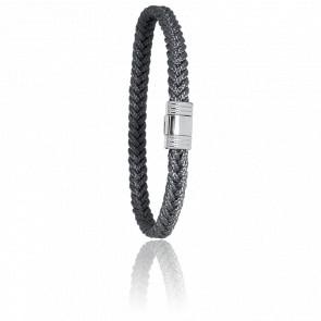 Bracelet 608 Cordon Marin Gris Anthracite & Acier