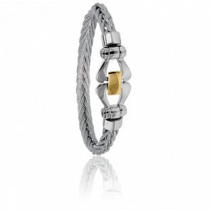 Bracelet 503 Câble Acier Gris & Or Jaune 18K