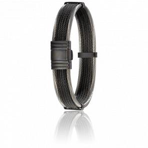 Bracelet Câbles Acier Noir 15 cm et Argent 13 mm