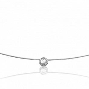 Collier Sonia 55 cm Or Blanc 18K et Solitaire 0,06 ct