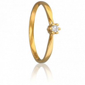 Bague Solitaire Venise Or Jaune & Diamant 0,04ct
