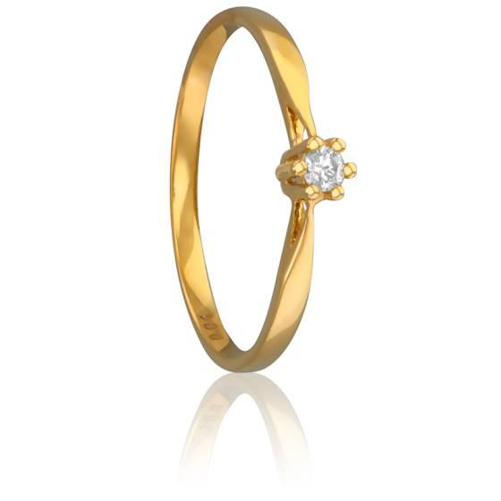 Bague Solitaire Venise Or Jaune & Diamant 0,04ct