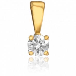 Pendentif 4 Griffes Or Jaune & Diamant 0,04 ct