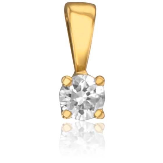 Pendentif 4 Griffes Diamant 0,04 ct & Or Jaune 18K