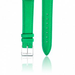 Bracelet Tissu Vert Pomme Argent