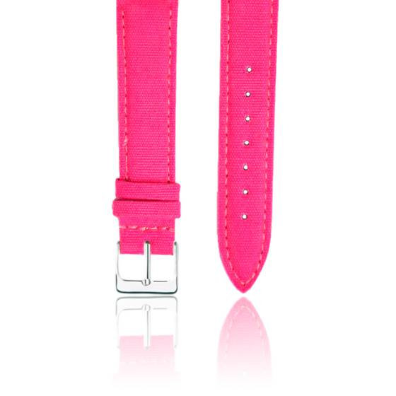 Bracelet Tissu Rose Fushia Argent