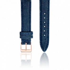 Bracelet Tissu Jean Bleu Or Rose