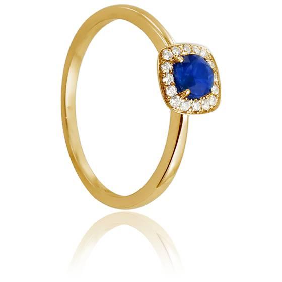 bague or jaune diamant et saphir