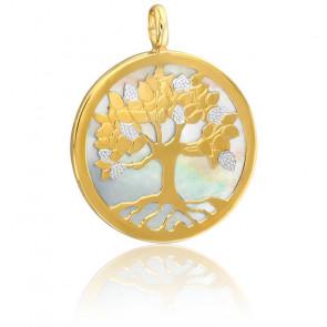 Médaille Arbre de Vie Or Jaune & Blanc 18 cts et Nacre - Vandona