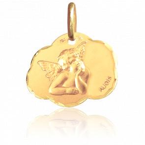 Médaille Nuage Ange Raphaël Or Jaune 18K