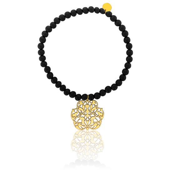 Bracelet perle volcanique, motif arabesque plaqué or