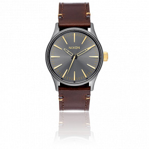 The Sentry 38 Leather Gunmetal/Gold A377-595