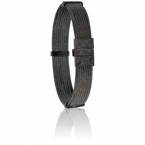 Bracelet 604 Câble Acier Noir Gravé