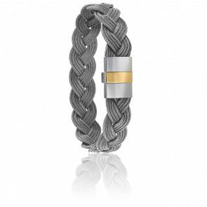 Bracelet 604 Câble Acier Tressé & Or Jaune 18K