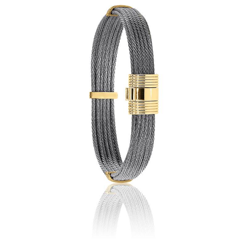 Bracelet 606 Câble Acier & Or Jaune 18K