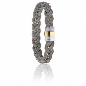 Bracelet 607 Câbles Tressés Acier & Or Jaune
