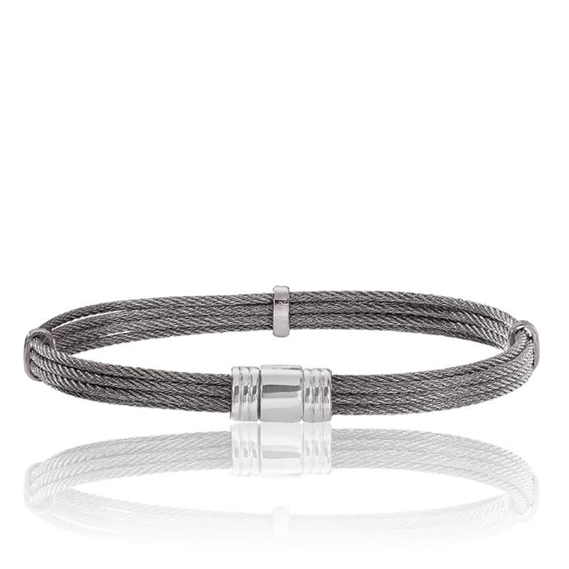 Bracelet multi c bles gris d 39 acier 6 mm albanu ocarat - Cable acier 6mm ...
