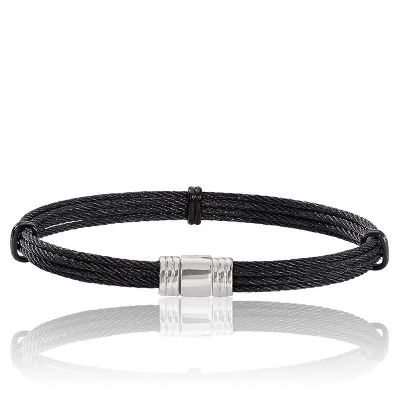 Bracelet multi c bles noir d 39 acier 6 mm albanu ocarat - Cable acier 6mm ...